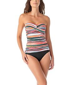 Bandeau Tankini Top & High-Waist Bikini Bottoms