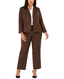 Plus Size Melangé Twill Pants Suit