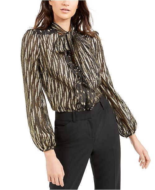 Rachel Zoe Metallic Mesh Top
