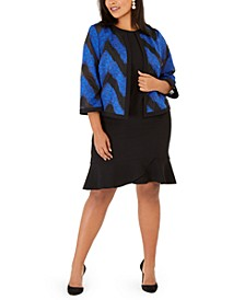 Plus Size Organza Jacket & Scallop-Hem Dress