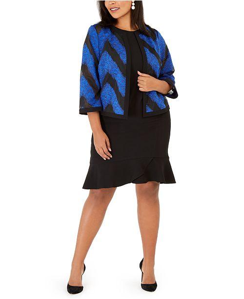 Kasper Plus Size Organza Jacket & Scallop-Hem Dress
