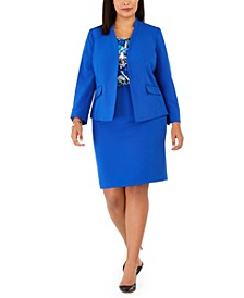 Plus Size Stand Collar Blazer, Printed Shell Blouse & Slim-Fit Skirt