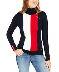 Vertical-Stripe Turtleneck Sweater