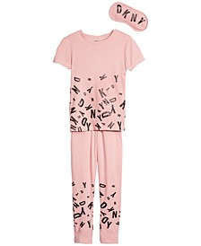 Big Girls 3-Pc. Pajama Set With Eye Mask