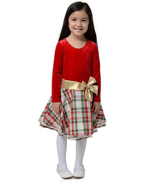 Bonnie Jean Toddler Girls Velvet Plaid Dress
