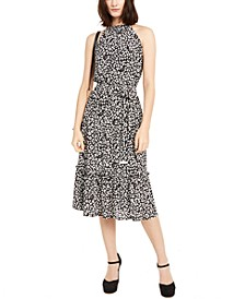 Smock Neck Leopard-Print Maxi Dress