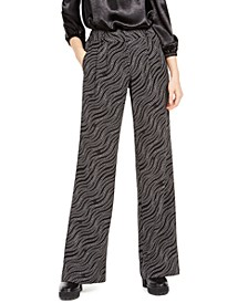 Wavy-Print Pull-On Pants, Regular & Petite