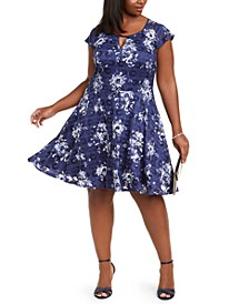 Trendy Plus Size Floral-Print Lace A-Line Dress