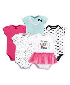 Baby Girl Cotton Bodysuits, 5-Pack