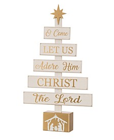 Wooden Nativity Table Tree Decor