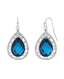Silver-Tone Filigree Pear shape Drop Earrings