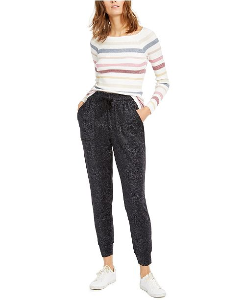 INC International Concepts INC Striped Sweater & Sparkly Joggers, Created For Macy's