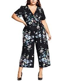 Trendy Plus Size Surplice Floral-Print Jumpsuit