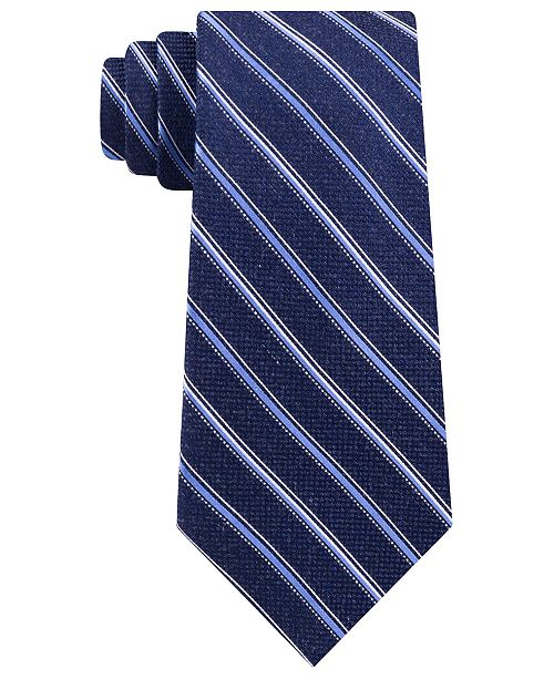 Michael Kors Men's Satin Asymmetric Weft Stripe Tie