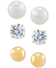 3-Pc. Set Cutured Freshwater Pearl (3-3/4mm), Cubic Zirconia & Polished Round Stud Earrings in 10k Gold
