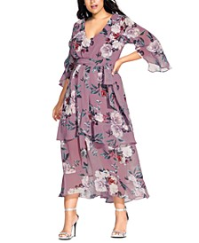 Trendy Plus Size Rosewater Floral-Print Maxi Dress