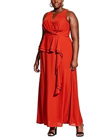 Trendy Plus Size Cascade-Skirt Maxi Dress