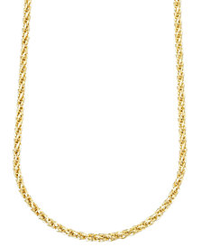 "14k Gold Necklace, 24"" 3mm Square Link Polished Chain"