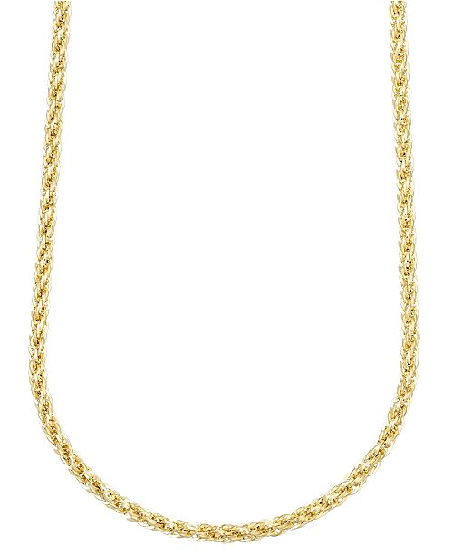 "Macy's 14k Gold Necklace, 24"" (3mm) Square Link Polished Chain"