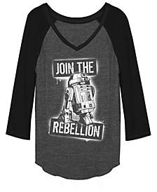 Star Wars R2-D2 Join The Rebellion Stencil Raglan Baseball Tee