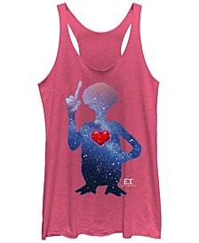 E.T. Terrestrial Universe Silhouette Heart Tri-Blend Racer Back Tank