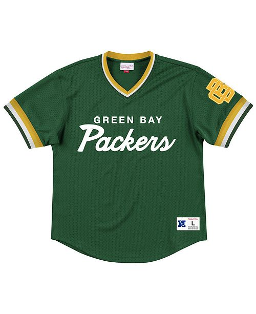 Mitchell & Ness Men's Green Bay Packers Special Script Mesh V-Neck Top