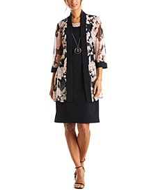 Petite Dress & Mesh Floral Jacket