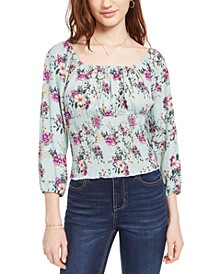 Juniors' Floral Print Smocked Top