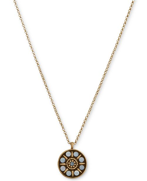 "Lucky Brand Gold-Tone Hammered Mother-of-Pearl Pendant Necklace, 18"" + 2"" extender"