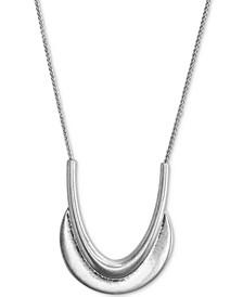 """Crescent Pendant 34"""" Long Necklace"""