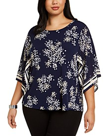 Plus Size Printed Kimono-Sleeve Top, Created for Macy's