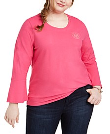 Plus Size Embellished Bell-Sleeve Top, Created for Macy's
