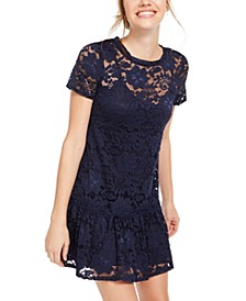 Juniors' Lace Ruffle Dress, Created for Macy's