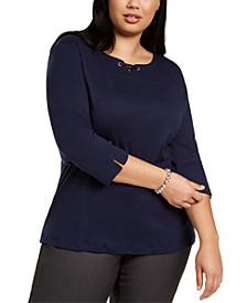 Plus Size Cotton Split-Neck Grommet Top, Created for Macy's