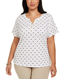 Plus Size Bee-Print Henley Top, Created For Macy's