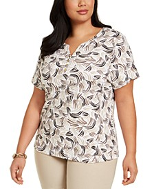 Plus Size Printed Henley Top, Created For Macy's