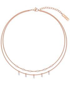 "Penelope Cruz Moonsun Rose Gold-Tone Crystal Two-Row Necklace, 14-1/8"" + 2"" extender"