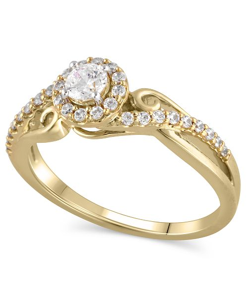 Macy's Certified Diamond (3/8 ct. t.w.) Engagement Ring in 14k Yellow Gold