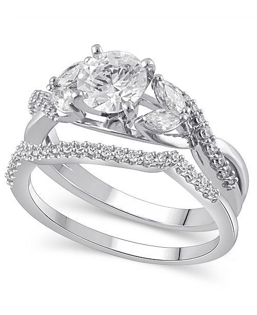 Macy's Certified Diamond (1-5/8 ct. t.w.) Bridal Set in 14K White Gold