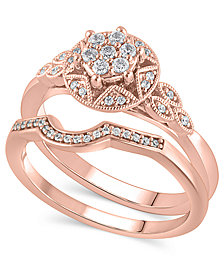 Certified Diamond (1/4 ct. t.w.) Bridal Set in 14K Rose Gold