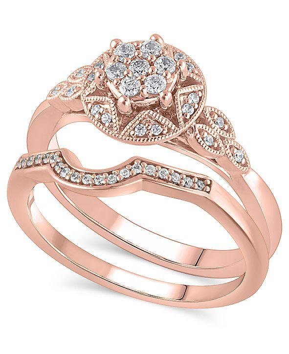 Macy's Certified Diamond (1/4 ct. t.w.) Bridal Set in 14K Rose Gold