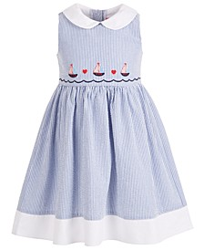 Toddler Girls Embroidered Seersucker Dress