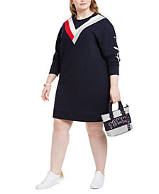 Tommy Hilfiger Plus Size Graphic Sweatshirt Dress, Created For Macy's