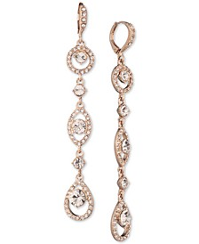 Rose Gold-Tone Crystal Linear Drop Earrings