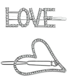 2-Pc. Silver-Tone Pavé Love Hair Barrette Set