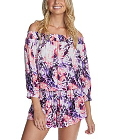Juniors' Torquay Printed West Coast Romper Cover-Up