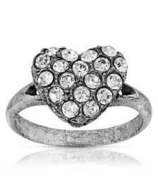 Pewter Crystal Pave Heart Ring