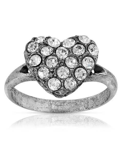 2028 Pewter Crystal Pave Heart Ring