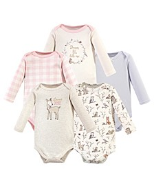 Baby Girl Long Sleeve Bodysuits, 5 Pack