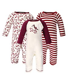 Baby Girl Organic Coveralls, 3 Pack